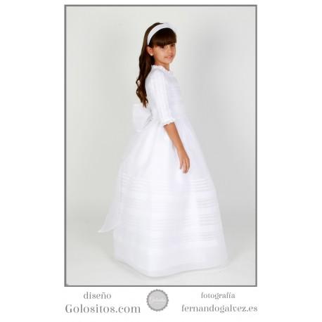 Vestido de Comunion Organdi Suizo blanco, manga francesa