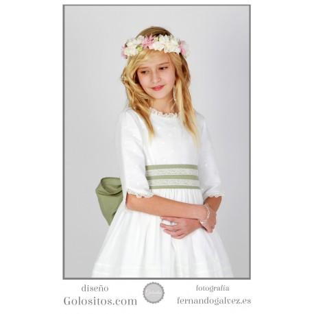 Vestido de Comunion Lino blanco, fajín rosa