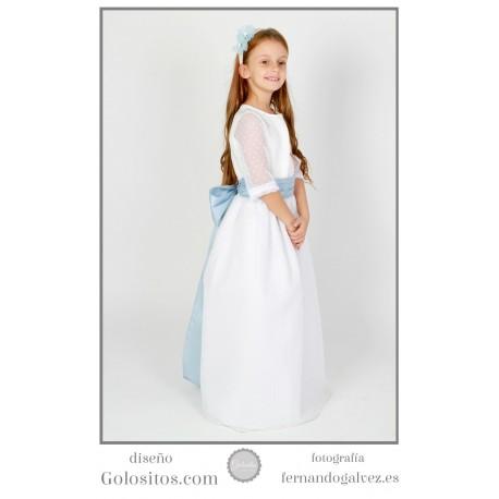 Vestido de Comunion tul de plumeti blanco