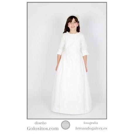 Vestido de Comunion Lino marfil con bodoques, puntilla de bolillo