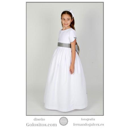 Vestido de Comunion otoman blanco con adornos grises