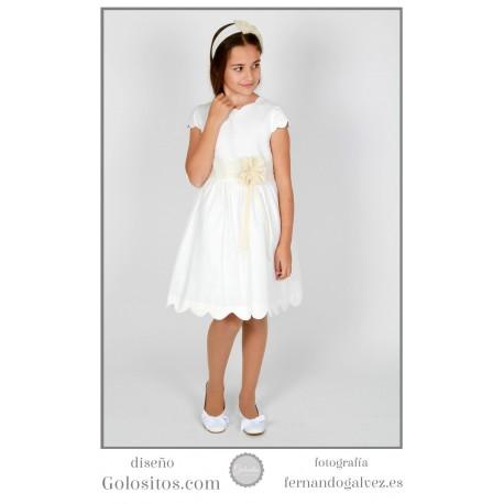 Vestido de Comunion corto, lino marfil con ondas