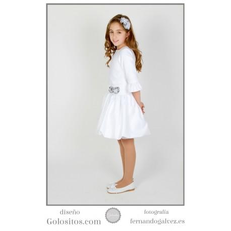 Vestido de Comunion corto, falda globo, brillantina blanca