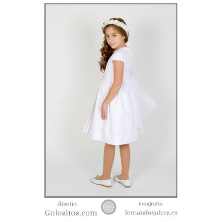 Vestido de Comunion corto, otoman blanco con picunela