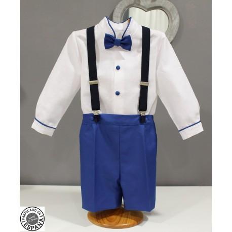 Traje de niño para boda paje. Lino blanco con azulón. Tirantes y pajarita