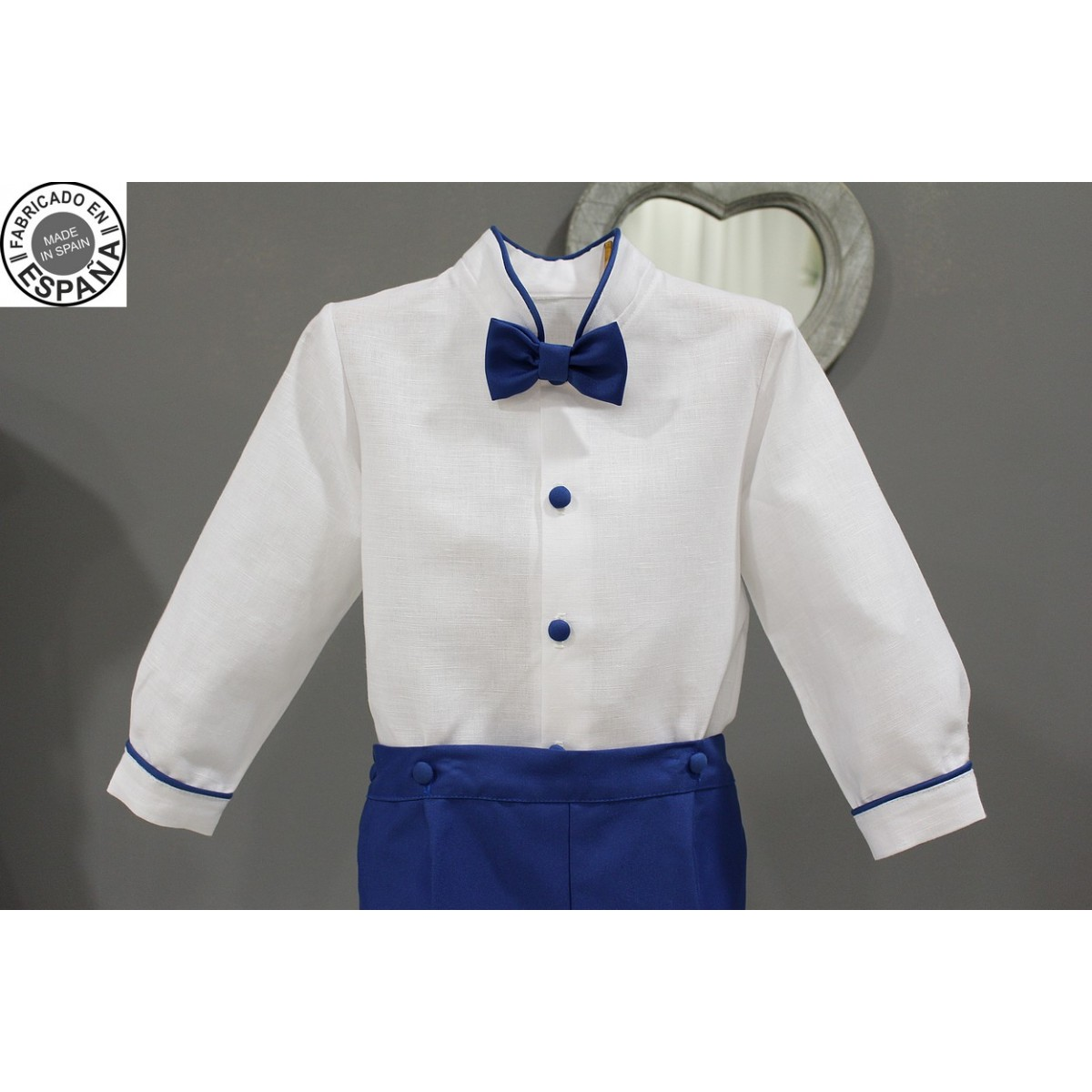 Boy Ring bearer outfit. White linen with royal blue shorts with bow tie and suspenders. Kidu0026#39;s ...