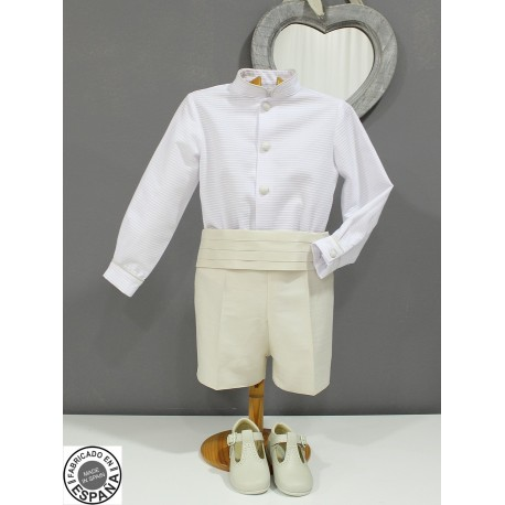 Boy Ring bearer outfit. White shirt with silk pants and belt grey