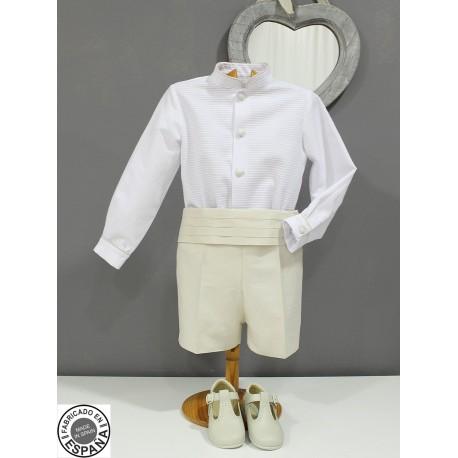 Traje de arras boda niño. Camisa blanca, pantalón y fajin en seda