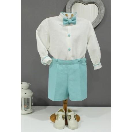 Traje de niño para boda. Lino crudo con pantalón verde mar/turquesa. Tirantes y pajarita