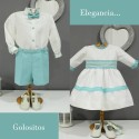 Boy Ring bearer outfit. Ivory linen with shorts in turquoise linen, with bow tie and suspenders. Children's ceremonial clothing