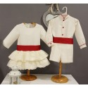 Boy Ring bearer outfit. White pique with red belt. Children's ceremonial clothing