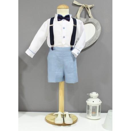 Traje de niño para boda. Lino blanco con pantalon lino azul azafata. Con pajarita y tirantes