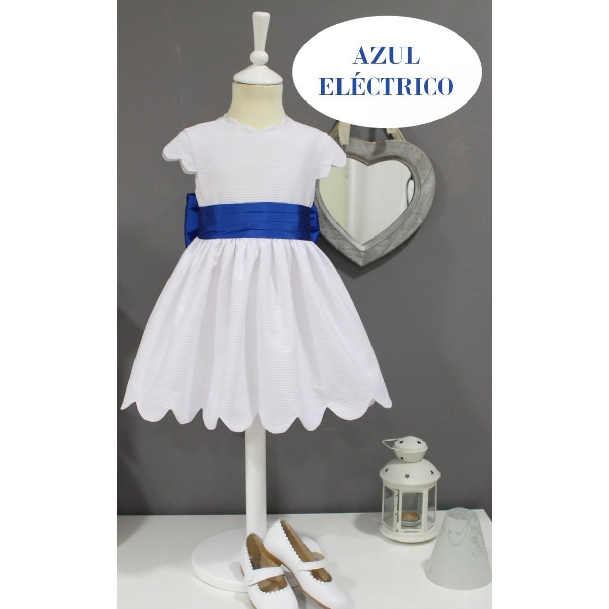 1a33d7e82 Vestido Ceremonia Niña barato. Blanco con muchos fajines disponibles