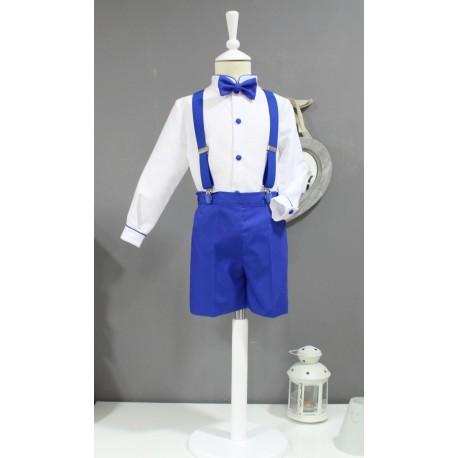 Traje de niño para boda. Camisa blanca con pantalon azul eléctrico. Tirantes y pajarita