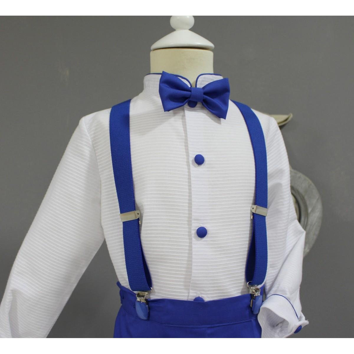 f6736a1fc Traje de niño para boda. Camisa blanca con pantalon azul eléctrico.  Tirantes y pajarita