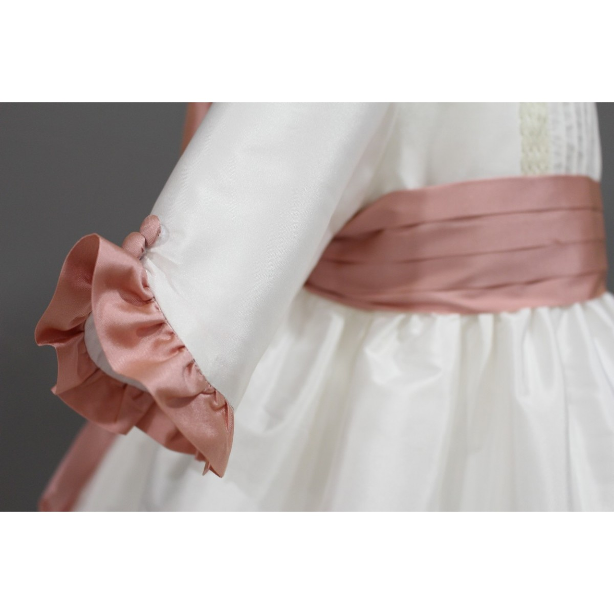 Flower Girl Dress Ivory And Pale Pink Silk Great Back Bow