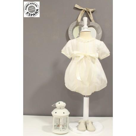 Ranita pelele de lino marfil. Para bebé bautizo, evento especial