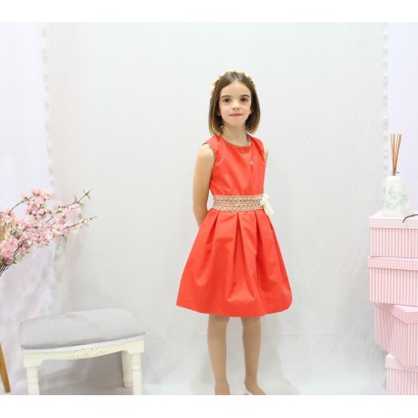 Coral flower girl dress. Beige cotton laces ornaments