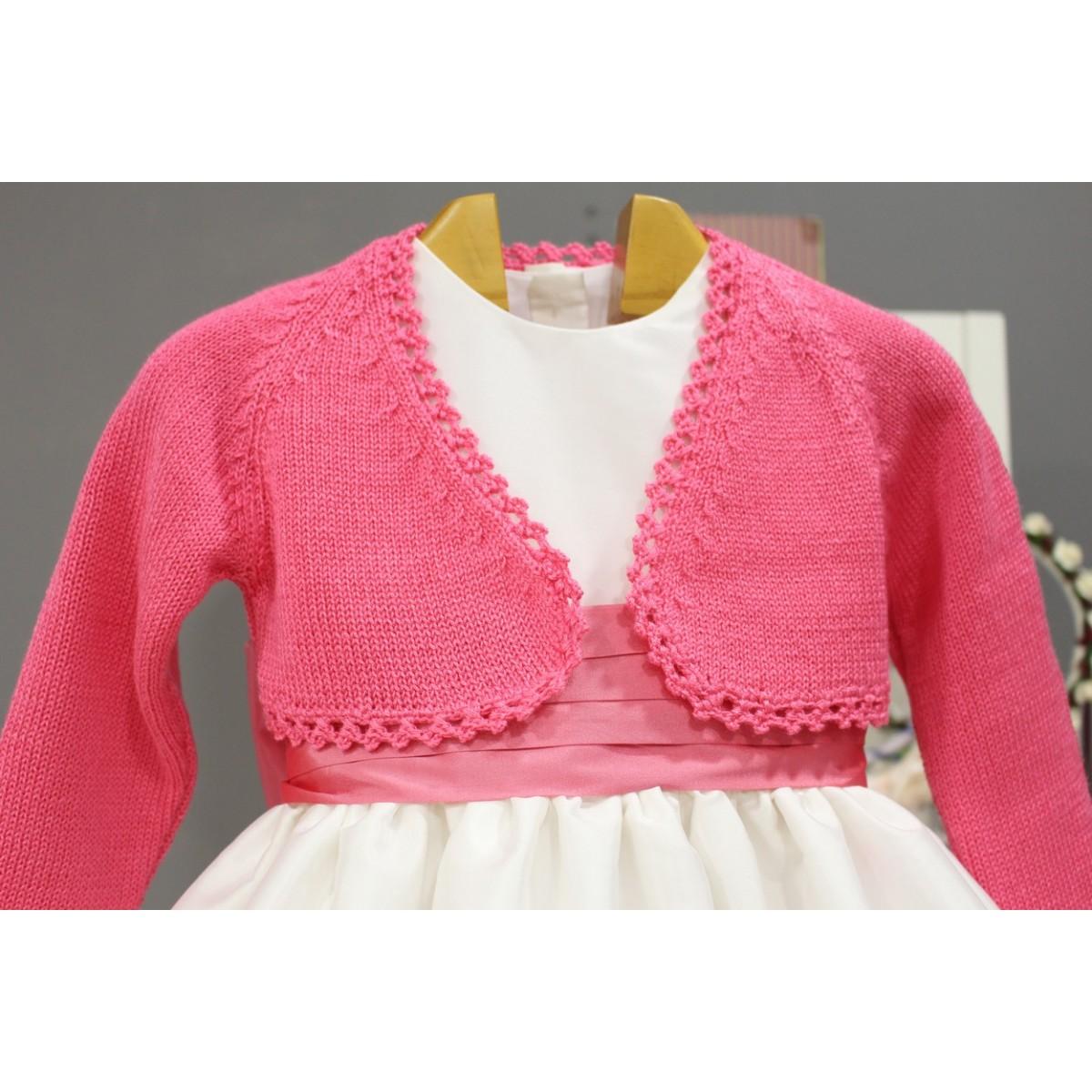 Vestido de arras para niña con chaqueta a juego rosa - Golositos ...