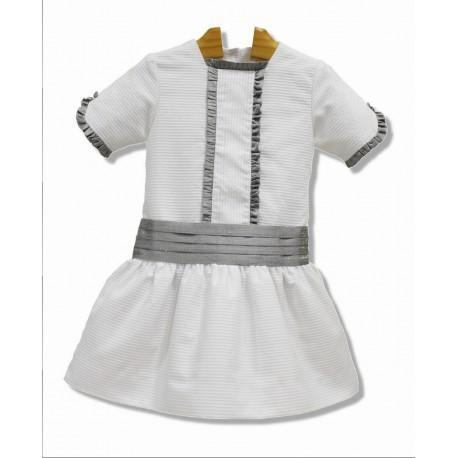 Pique Flower girl dress, with great belt. Low waist. Grey silk