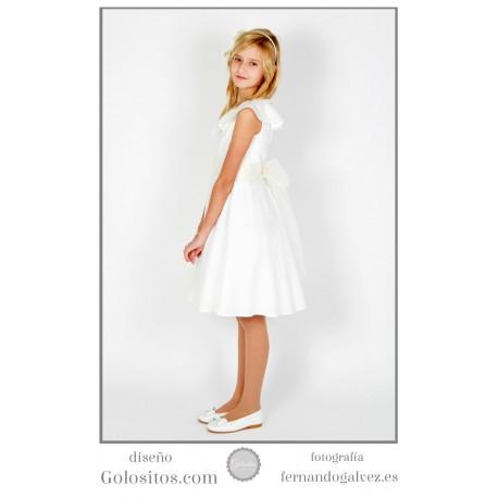 Vestido de Comunion corto, organza marfil con falda media capa