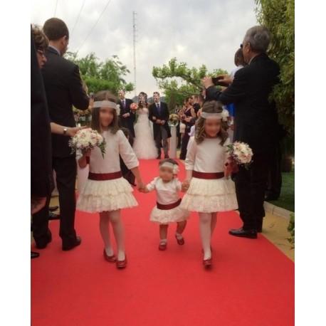 Pique Flower girl dress, drop waist dress, lace's skirt
