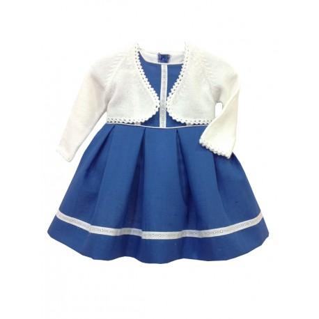 Vestido de arras, lino azulón con tira bordada blanca