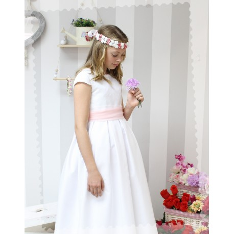 Vestido de Comunión Pique Blanco con cuerpo de plumeti
