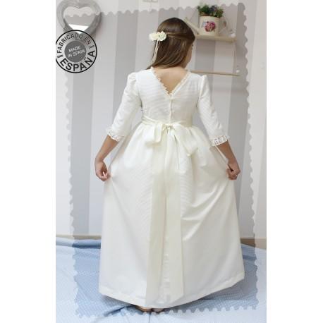 Vestido de Comunión Pique Marfil, espalda escote V