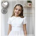 Vestido de Comunión Batista blanca. Clásico, jaretas y lorzas.