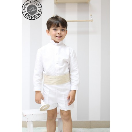 Ringbearer outfit, special occasion boy outfit. Whole white pique with pleated belt