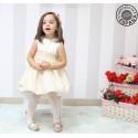 Vestido de Ceremonia para niña marfil con beige. Falda globo