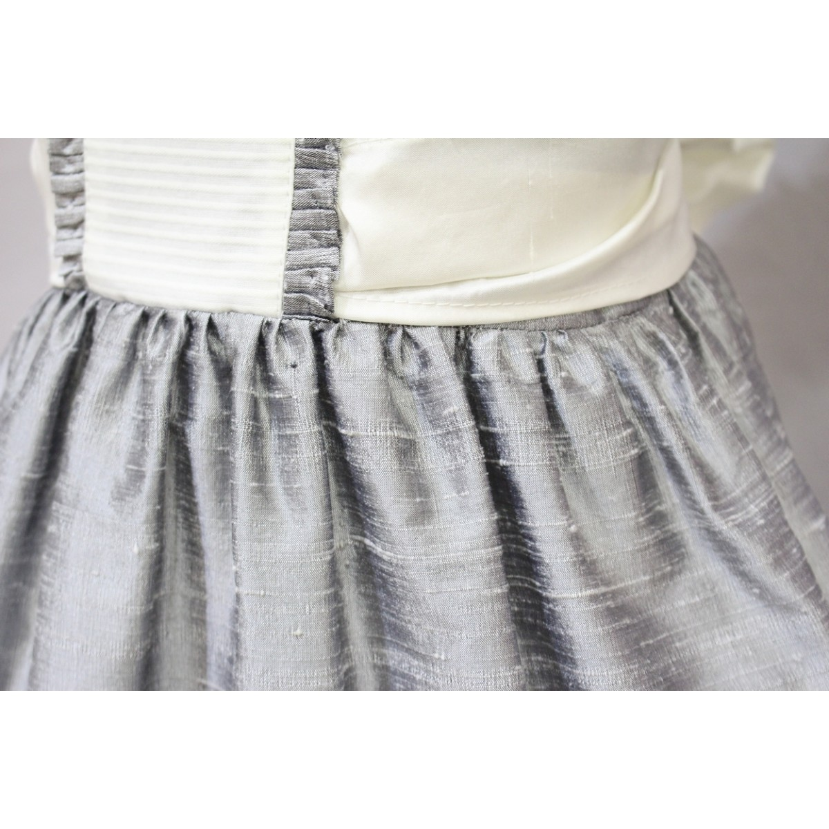 Grey Silk Flower Girl Dress With Ivory Silk Golositos Ropa Infantil