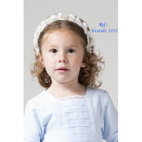 Light blue Flower girl dress, with white laces