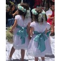 White plumeti Flower girl dress, with cotton laces