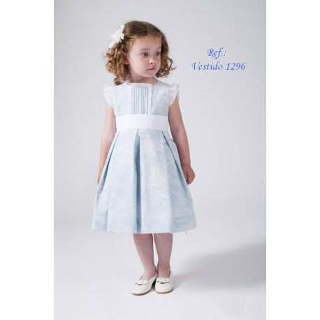 Print Flower girl dress, with white ornaments