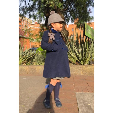 Navy Blue Wool English Coat for children