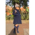 Double breast children coat. Navy Blue Wool English Coat for kids