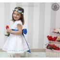Vestido niña ceremonia Plumeti blanco con Fajin Azulon. Elige el color