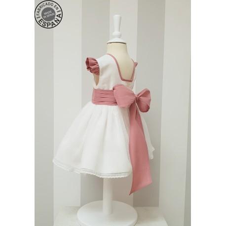 Vestido niña ceremonia Lino marfil con escote en espalda. Elige el color