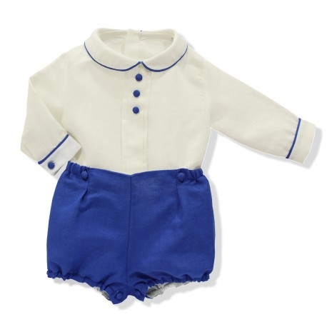 Baby special occassion outfit. ivory linen shirt, royal blue shorts