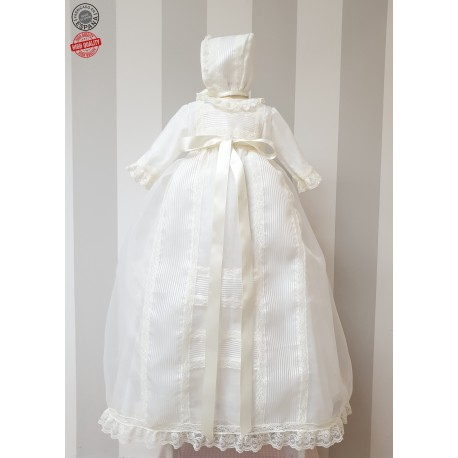 Baby Baptism unisex Gown, Ivory organza with matching bonnet