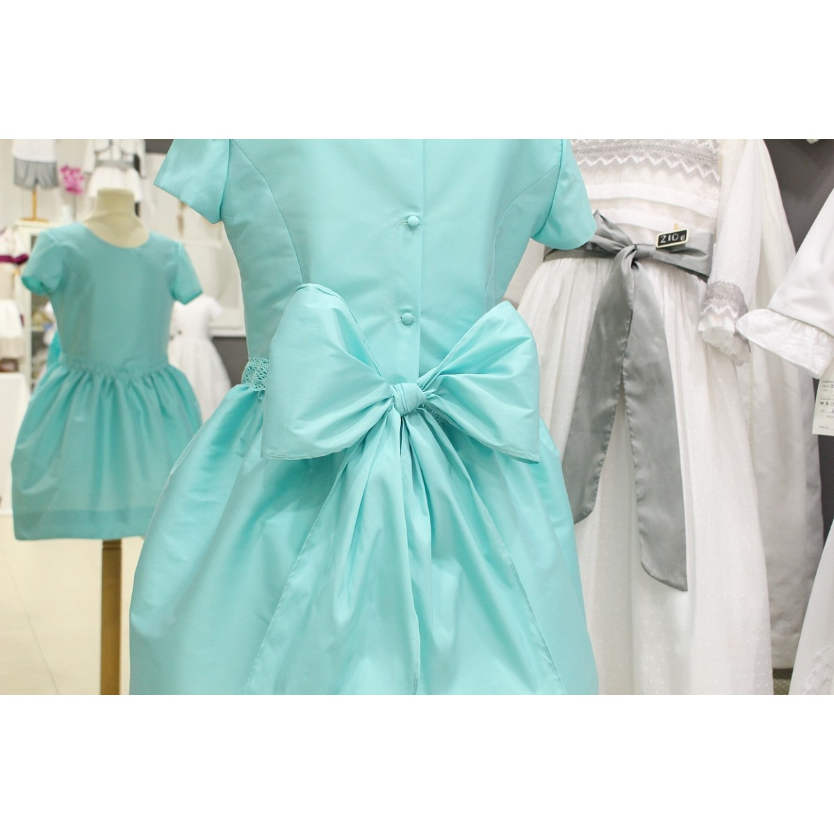 Turquoise Silk Flower Girl Dress Great Back Bow Golositos Ropa