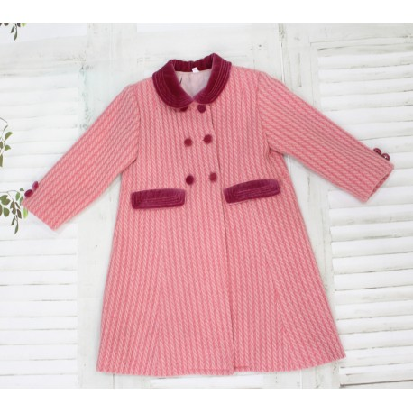 Pink plaits Wool English Coat