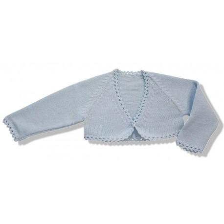 Chaqueta torera niña lana azul celeste