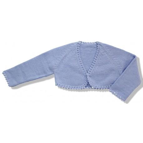 Chaqueta torera niña lana azul cielo