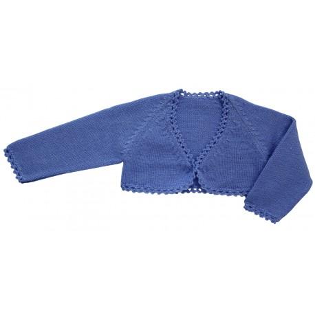 Chaqueta torera niña lana azul francia