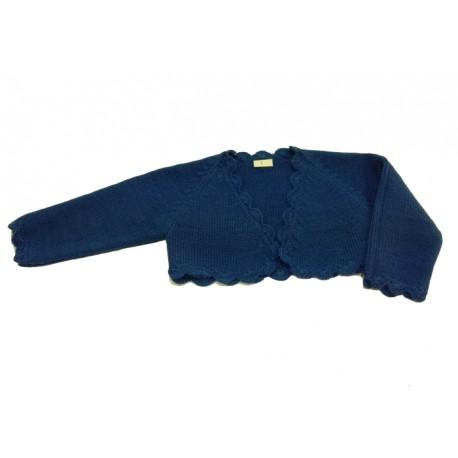 Chaqueta torera niña lana azul azafata