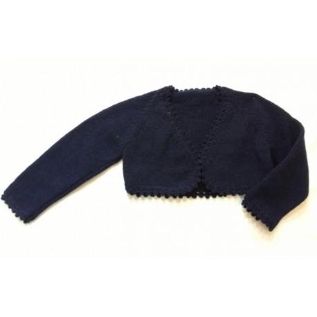 Chaqueta torera niña lana azul marino