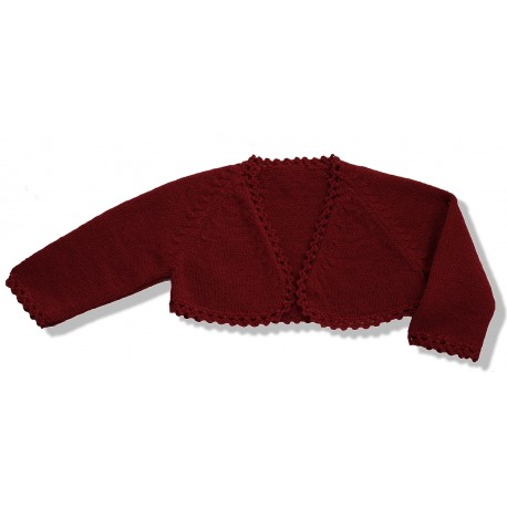 Chaqueta torera niña lana granate